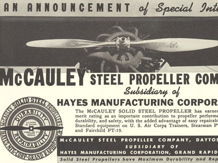 McCauley Solid Steel Blade  DWG. SS 210 - ad